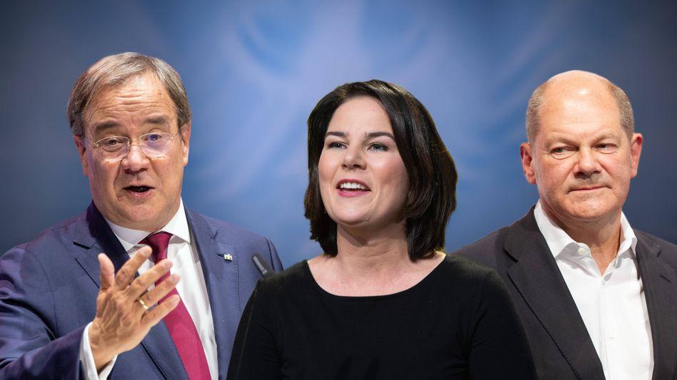 Kanzlerkandidaten Laschet, Baerbock, Scholz