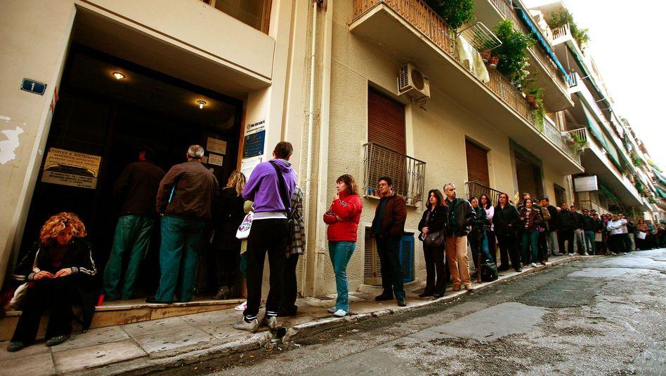 Menschen ohne Job in Athen: Griechenland hat die höchste Arbeitslosenquote der EU