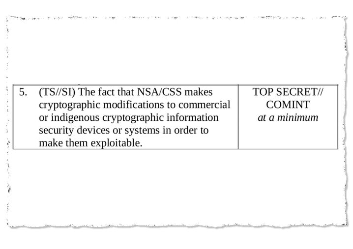 "NSA classification guide: ""Cryptographic modifications"""