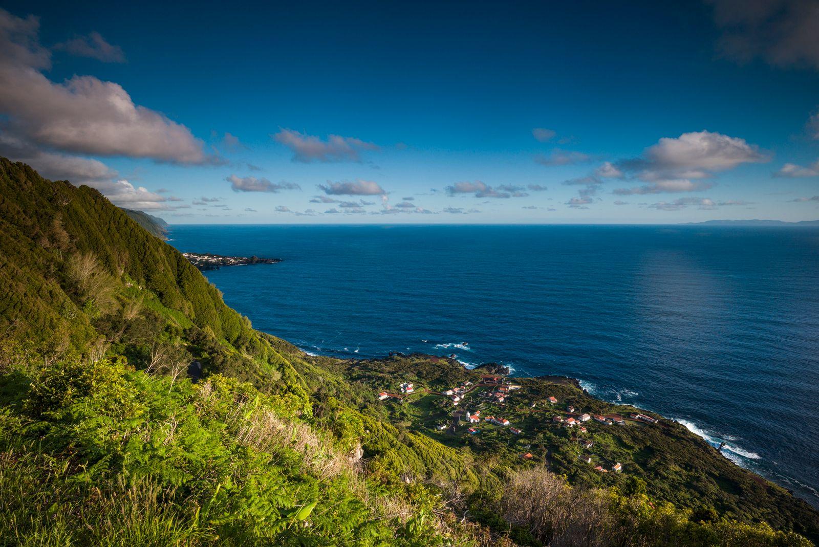 Portugal, Azores, Sao Jorge Island, Faja da Ribeira da Areia, elevated view. (Walter Bibikow)