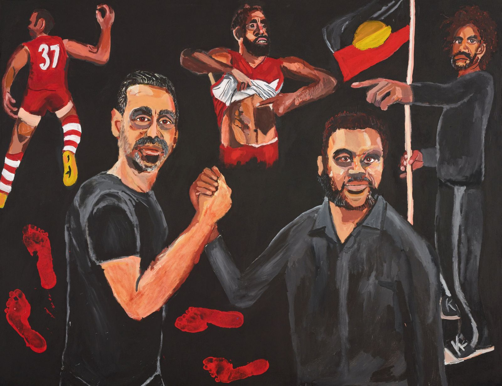 """Handout photo of Archibald Prize 2020 winner Vincent Namatjira's """"Stand strong for who you are\"""