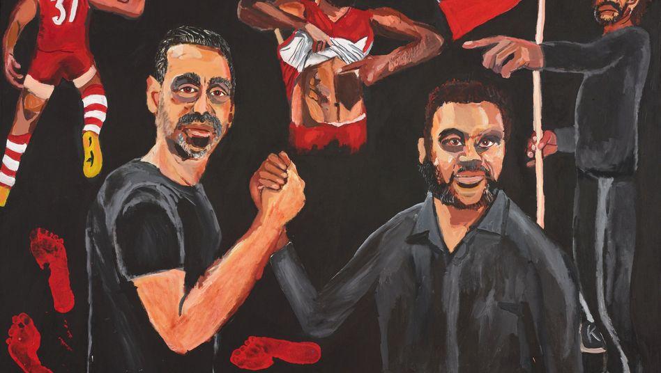 Das ausgezeichnete Werk zeigt den Ex-Footballspieler Adam Goodes (l.) und den Künstler selbst