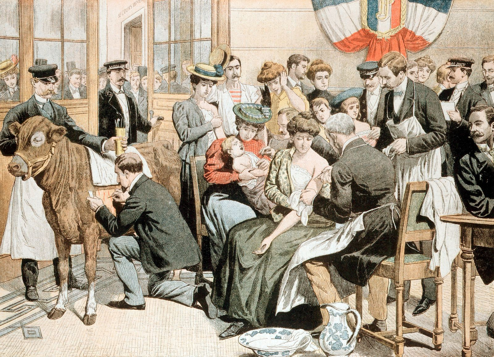 Free Smallpox vaccination clinic on premises of French newspaper, Paris.