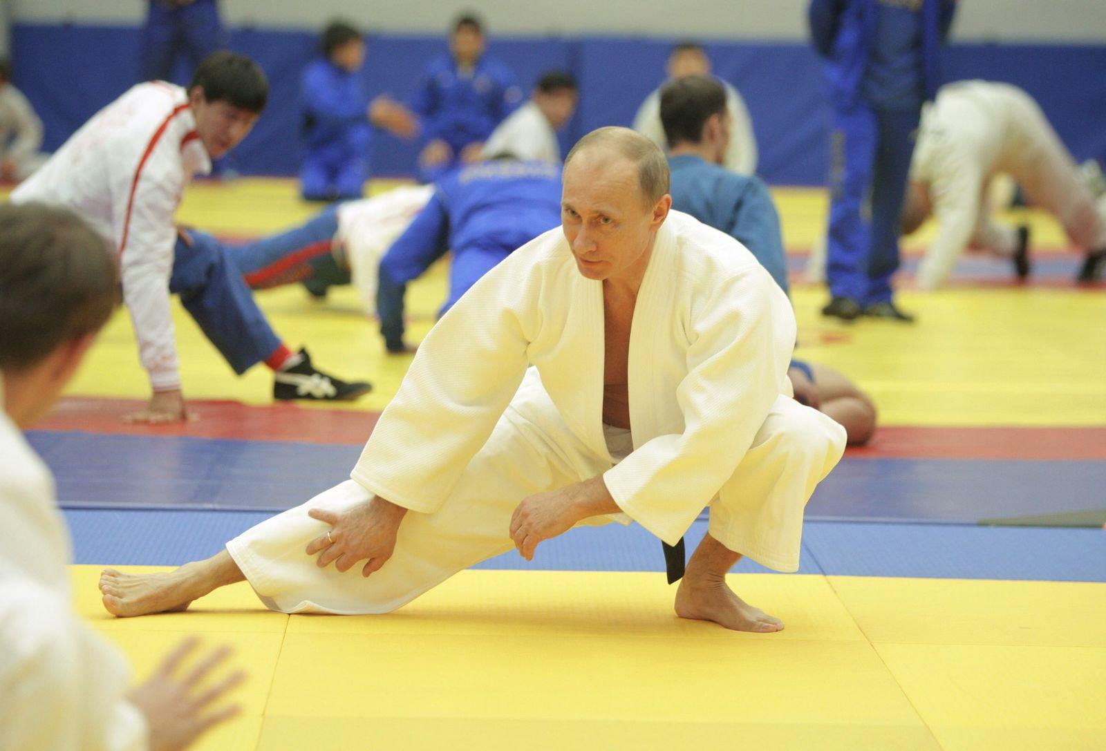 Russian Prime Minister Vladimir Putin attends judo training session in St. Petersburg