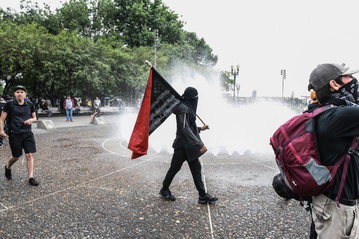 Teilnehmer des antifaschistischen Protests in Portland