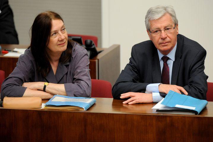 Rot-grüne Koalition an einem Tisch: Linnert (l.) und Bürgermeister Böhrnsen (r.)