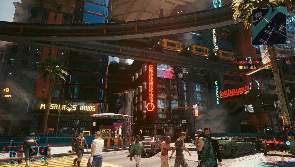 Screenshot aus der PC-Version von »Cyberpunk 2077«: Auf alten Konsolen wie der Playstation 4 sieht das Spiel schlechter aus