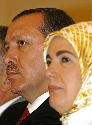Turkish Prime Minister Recep Tayyip Erdogan, accompanied by his wife Emine Erdogan