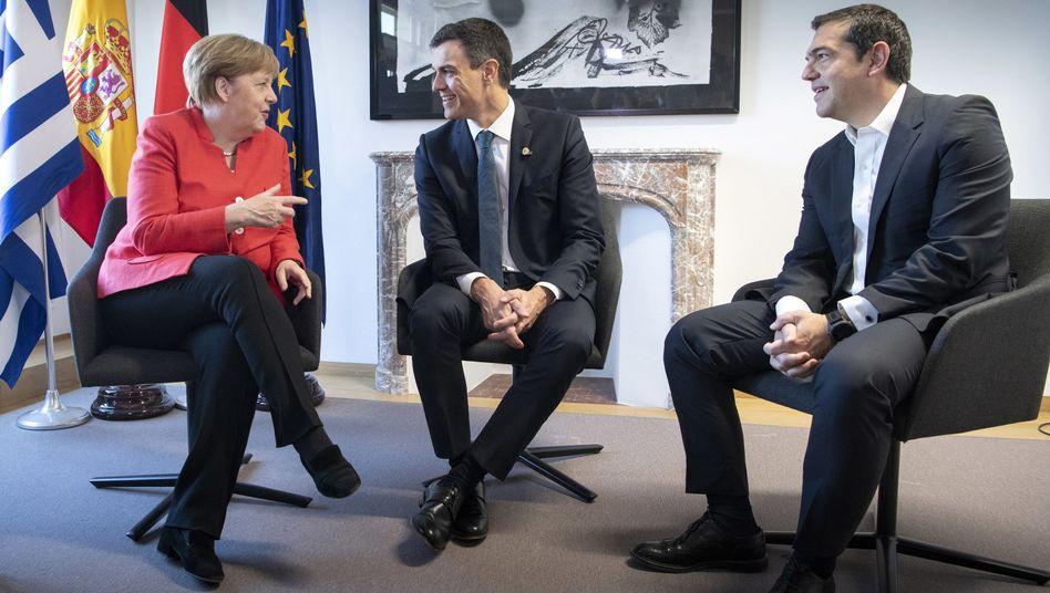 Angela Merkel, Pedro Sanchez, Alexis Tsipras