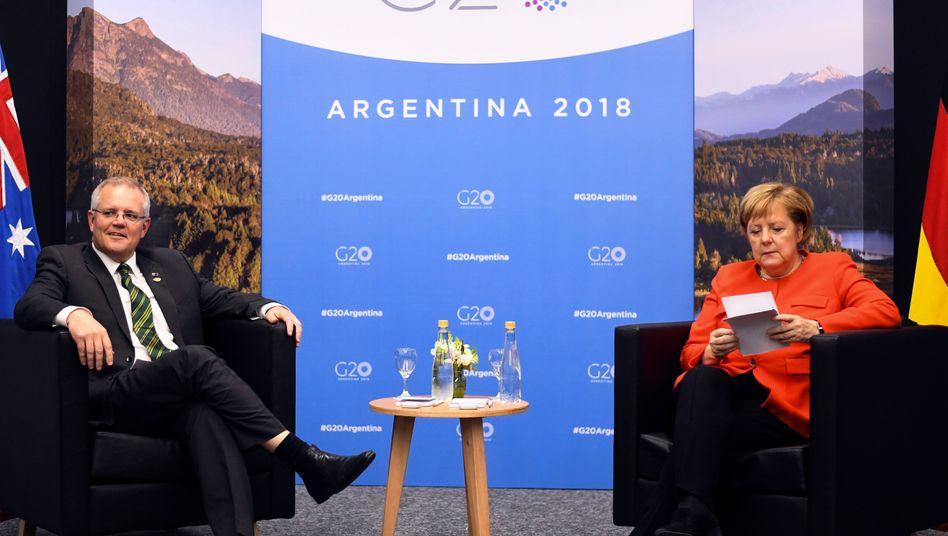 Scott Morrison und Angela Merkel beim G20-Gipfel in Buenos Aires