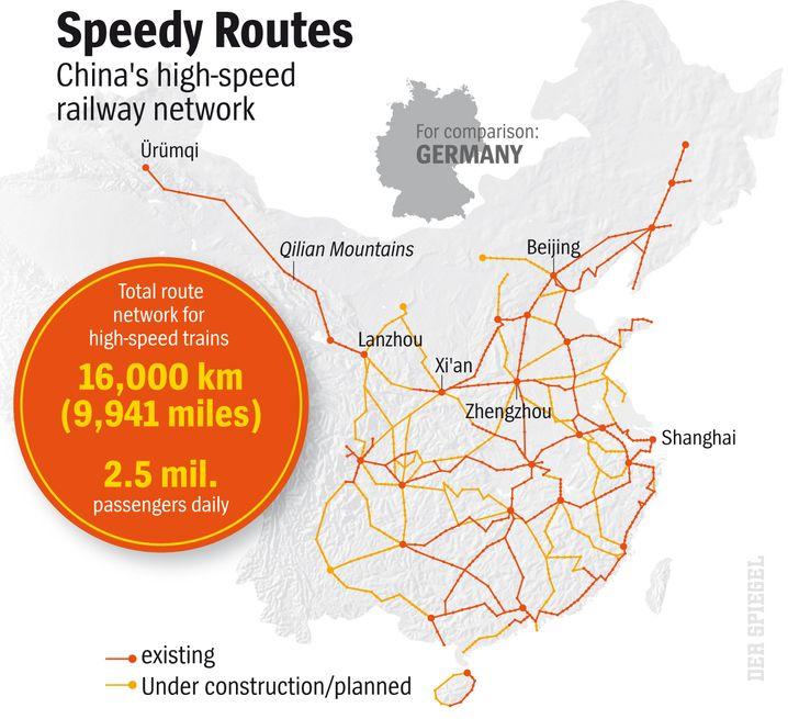 Map: China's High-Speed Rail Network