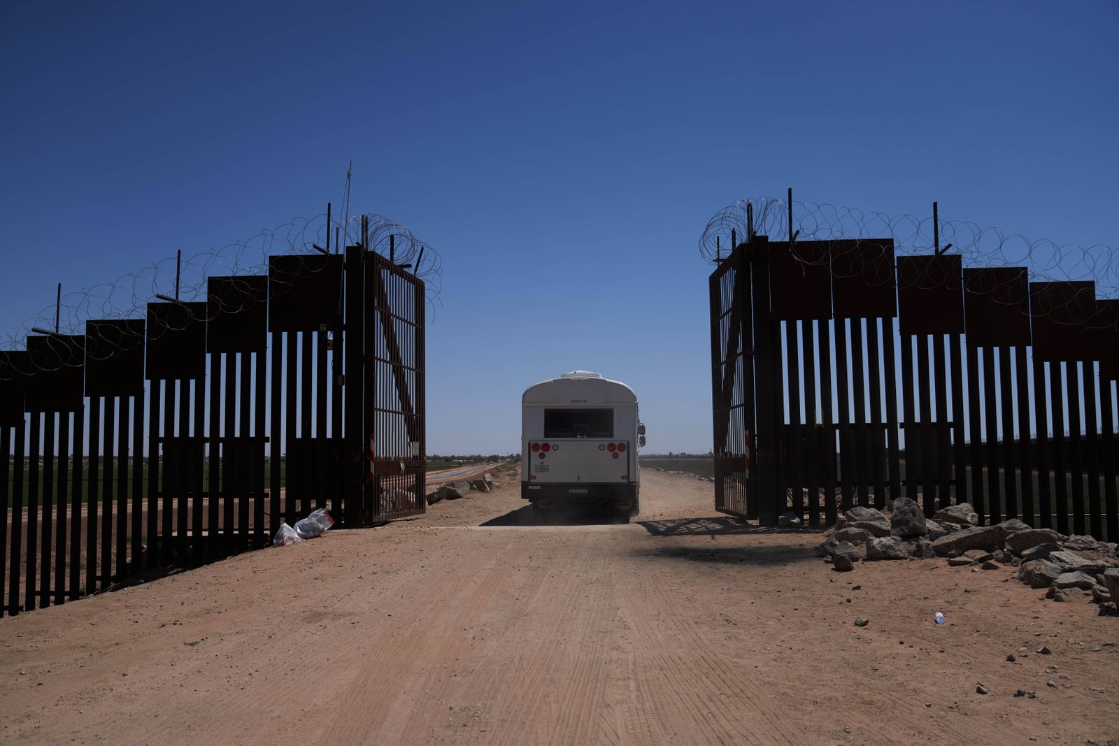 April 23, 2021, Yuma, Arizona, USA: A bus filled with asylum seeking migrants who surrendered to United States Border P