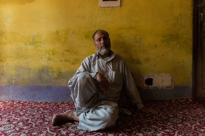Abdul Salaam Sheikh at his home in Kashmir. His 15-year-old son was killed during a revolt against the Indian government in Jammu and Kashmir.
