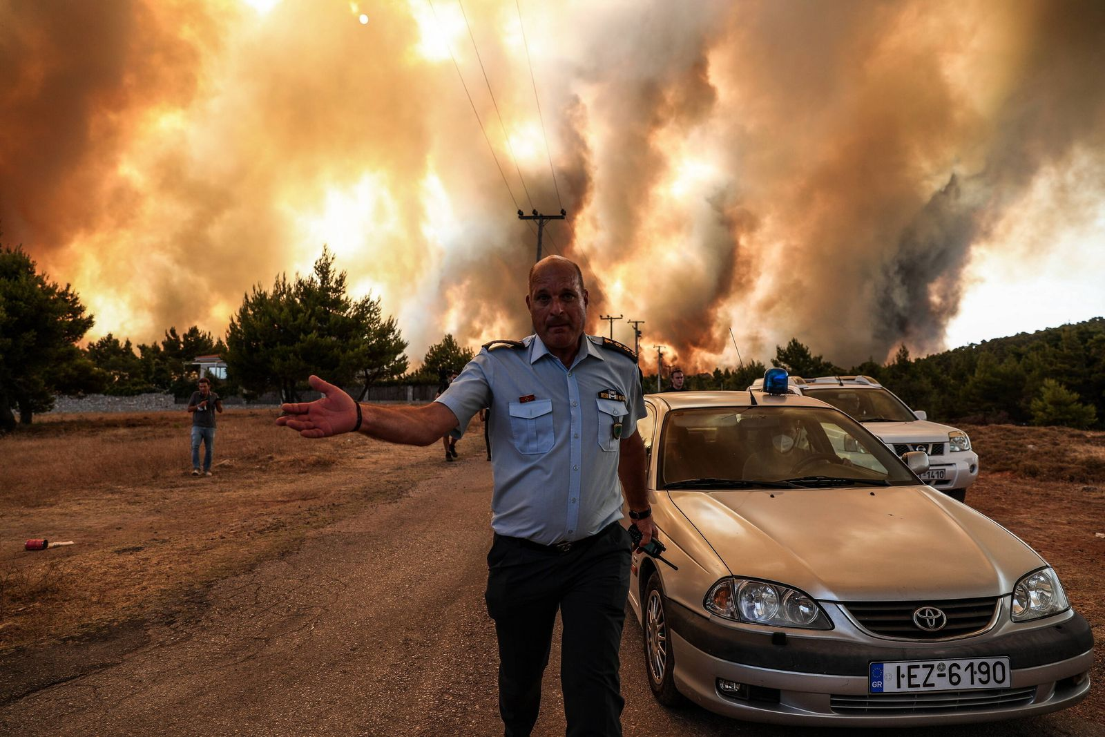 August 5, 2021, Athens, Greece: A view of a wildfire burning the area of Drossopigi, Varybobi, northeastern suburb of A