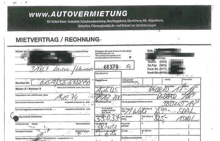 Kein Wohnmobil: Mietvertrag des NSU-Trios für einen Audi