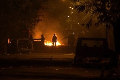 Violent protests in Athens continued over the weekend. Here, rioters outside the Athens Polytechnic on Saturday.