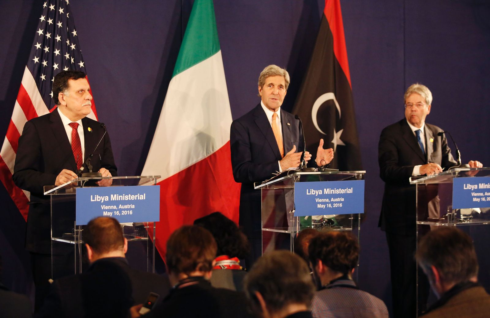 Libyen-Gespräche in Wien: Kerry, Sarra