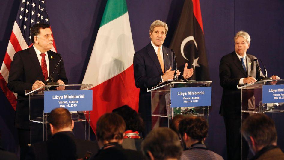 Libyens Ministerpräsident Sarradsch und US-Außenminister Kerry