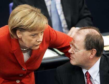 Angela Merkel und Peer Steinbrück: Haushalte sanieren und Lohnnebenkosten senken