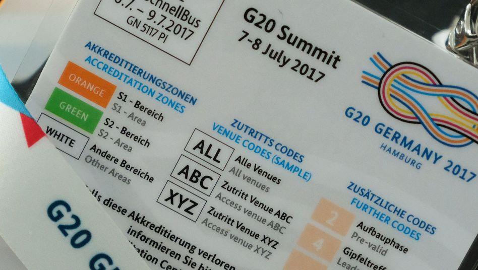 Rückseite einer G20-Akkreditierungskarte