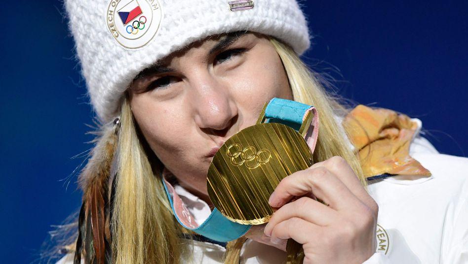 Ester Ledecka mit Goldmedaille, Pyeongchang 2018