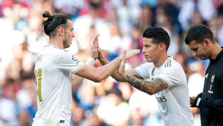 James Rodríguez (r.), daneben Gareth Bale von Real Madrid: Zuletzt eine Art Klassenclown