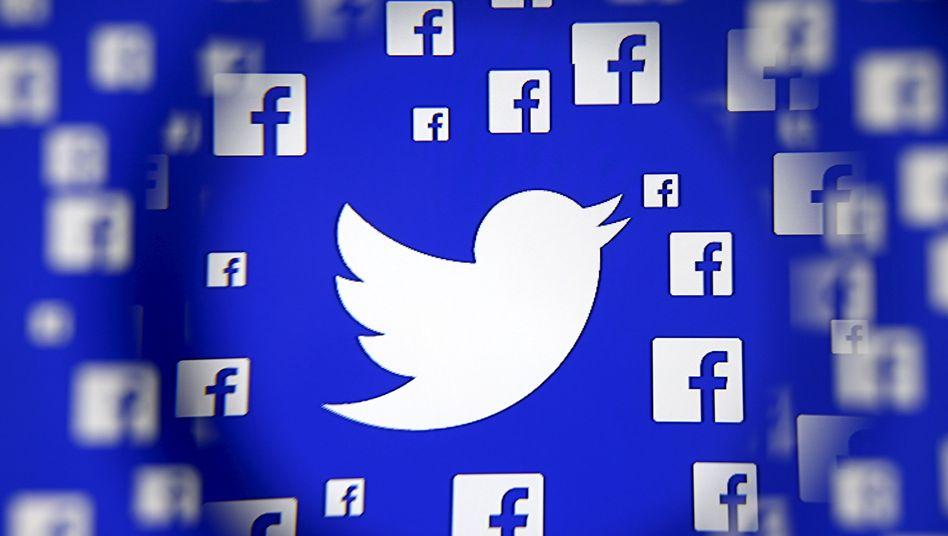 Logos von Twitter und Facebook