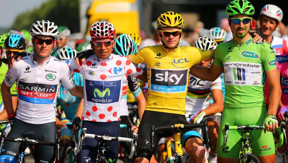 Talansky, Quintana, Toursieger Froome, Sagan (v.l.): Trikotträger unter sich