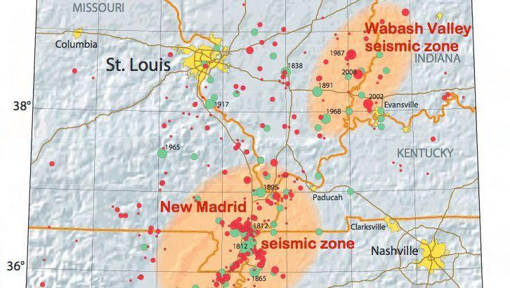 Erdbebenkarte: Die bisher schwersten Intraplattenbeben ereigneten sich im Winter 1811/12 im US-Bundesstaat Missouri