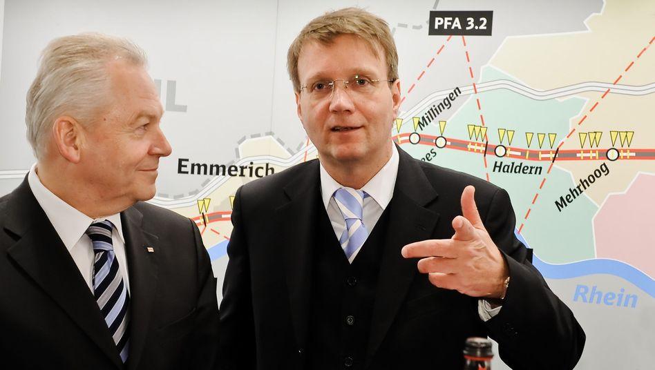 Bahn-Chef Grube (l.), Ex-Kanzleramtschef Pofalla: Wechsel zum 1. Januar