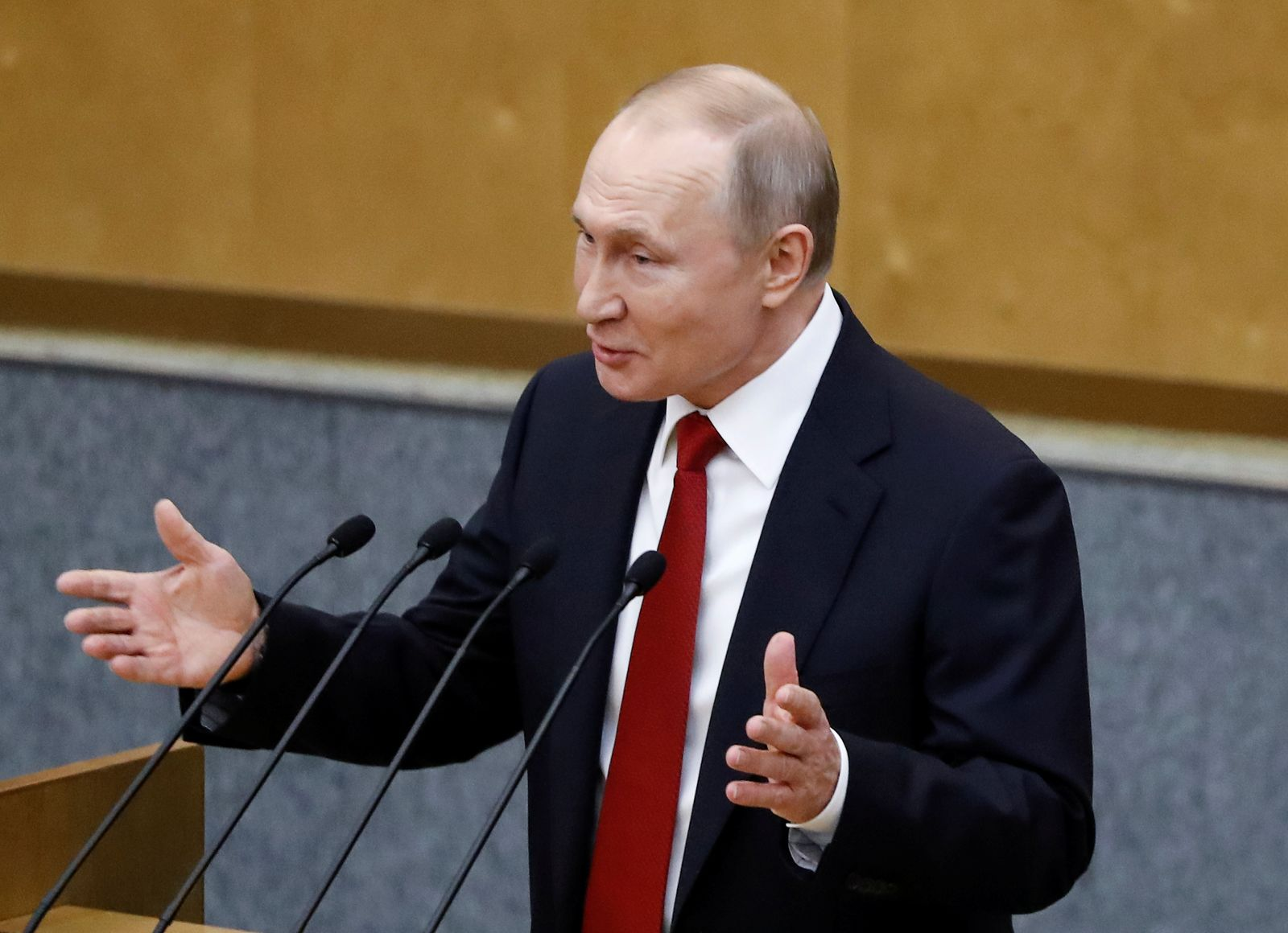 Russia's President Putin attends a session of the lower house of parliament in Moscow