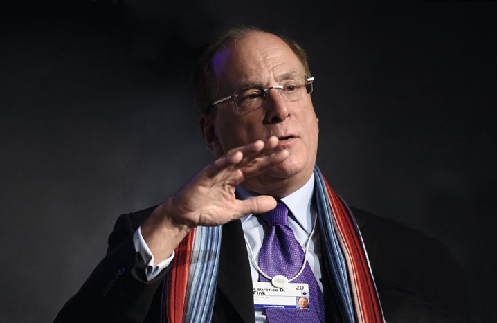 Blackrock founder and CEO Larry Fink, with his global warming scarf at the World Economic Summit in Davos