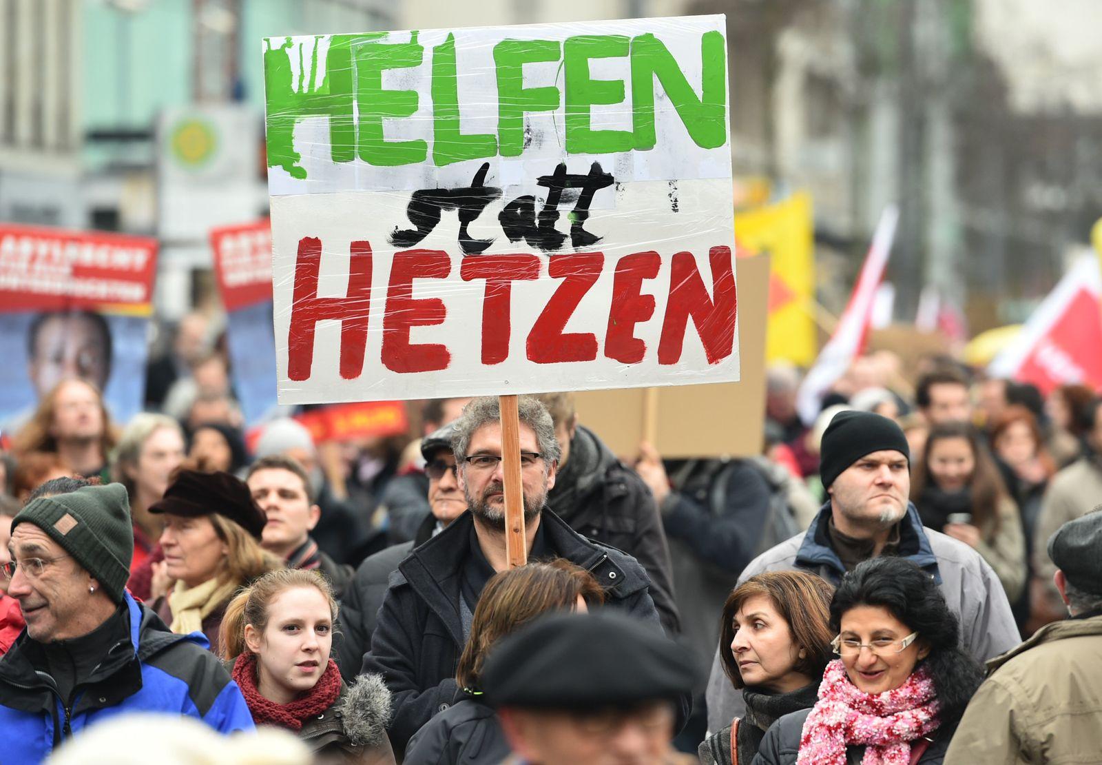 Solidaritätsdemonstration für Flüchtlinge in Mannheim