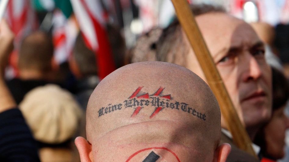 A supporter of Hungary's far-right party Jobbik at a rally in Budapest in 2009.