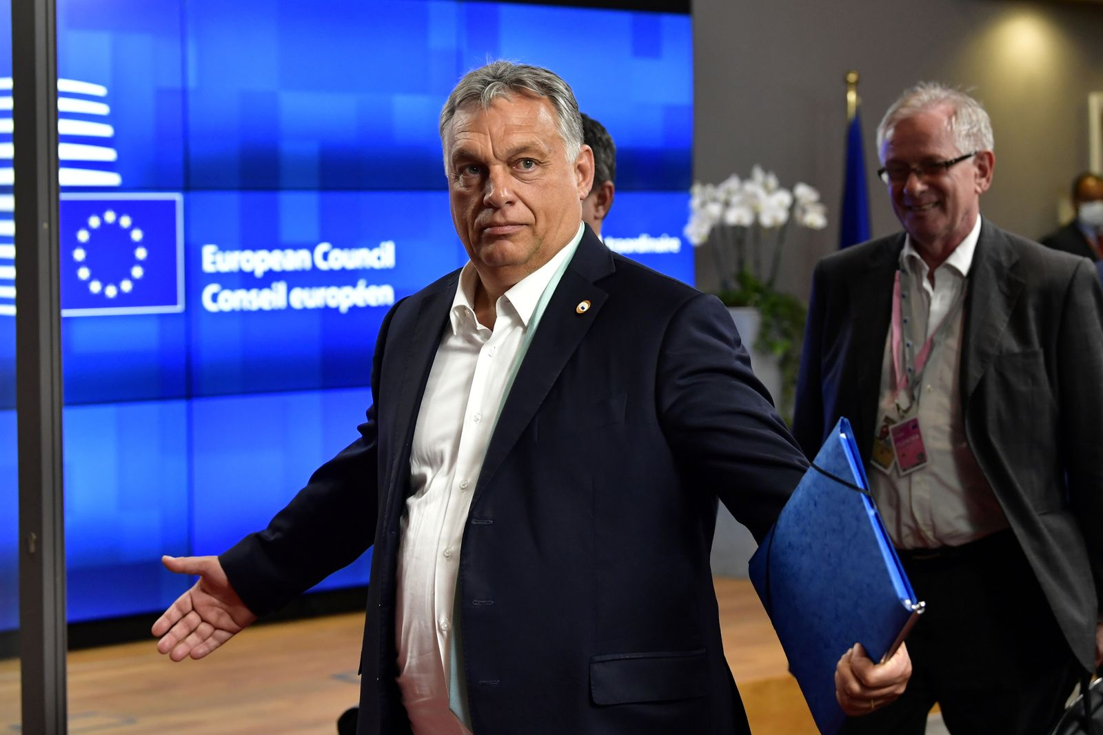 FILE PHOTO: Hungary's Prime Minister Viktor Orban leaves after a meeting of an EU summit on a coronavirus recovery package at the European Council building in Brussels