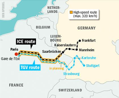 Map: The new high-speed rail connections between France and Germany