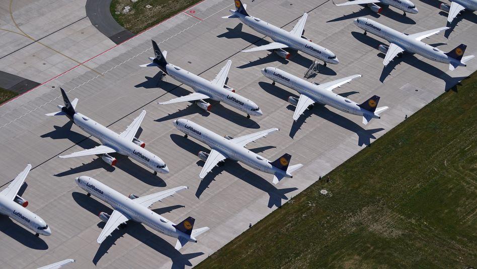 Lufthansa-Maschinen am Flughafen BER