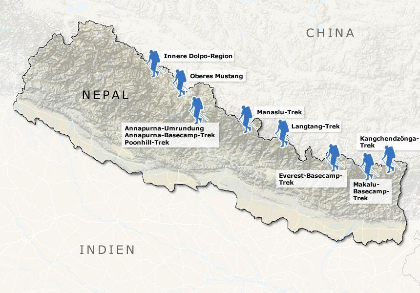 Karte - Trekkingrouten in Nepal v3