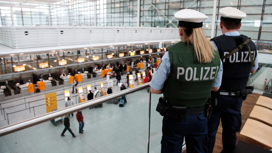 German police at Munich airport. The country's designated airports chief favors passenger profiling.