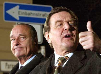 Chirac und Schröder: Um Entspannung mit den USA bemüht
