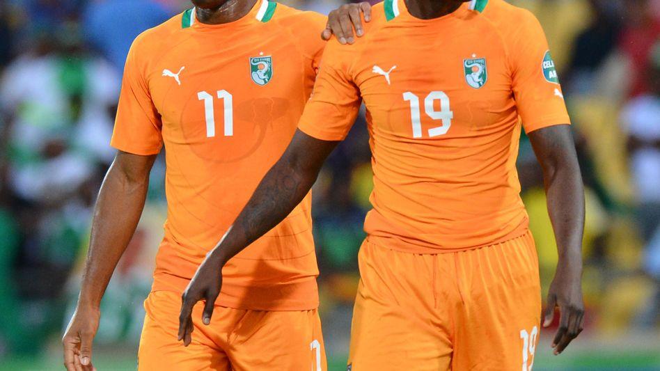 Ivorer Drobga (l.), Toure: Pleite im Viertelfinale des Afrika Cups