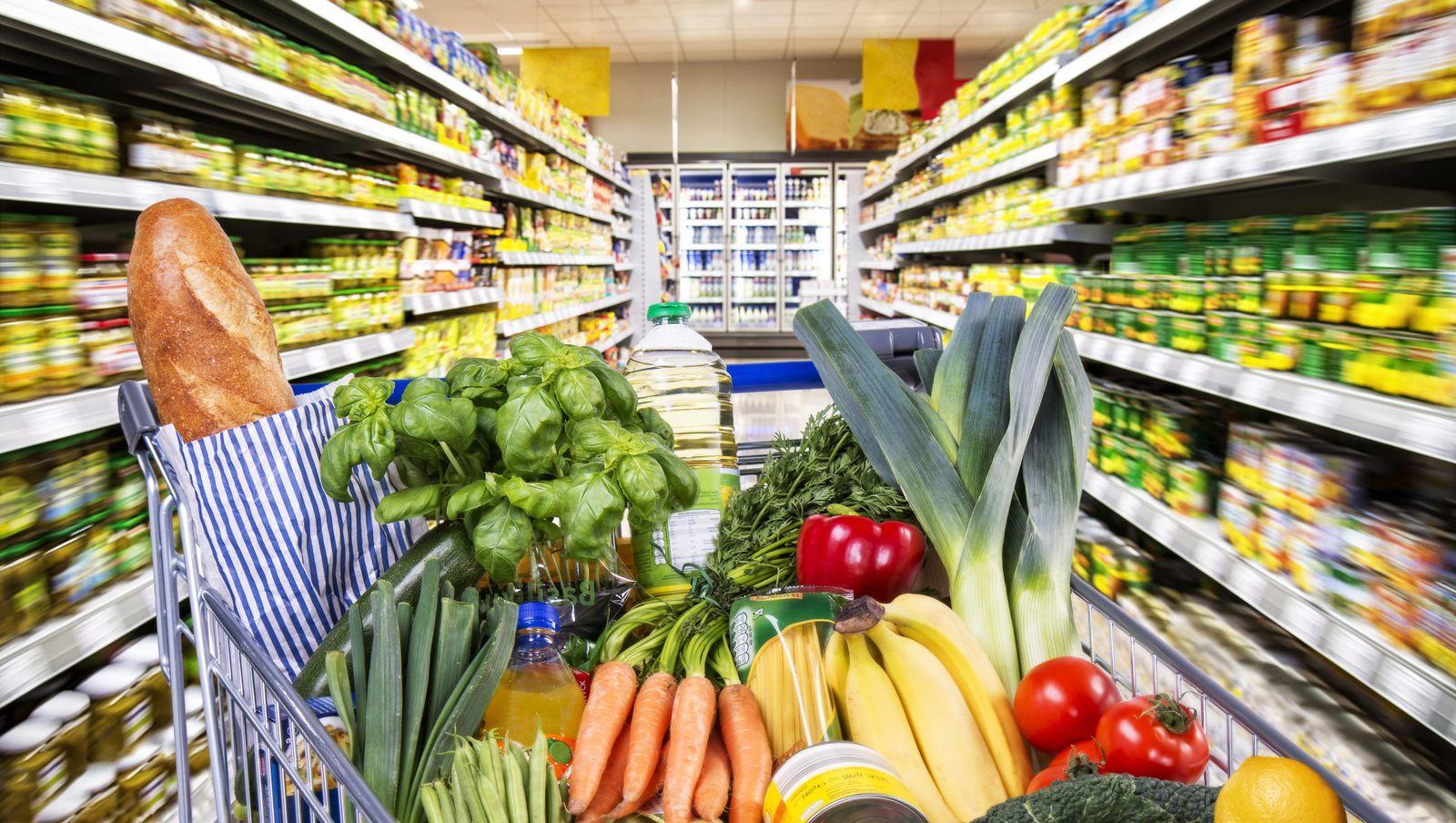 EINMALIGE VERWENDUNG Einkaufswagen / Lebensmittel