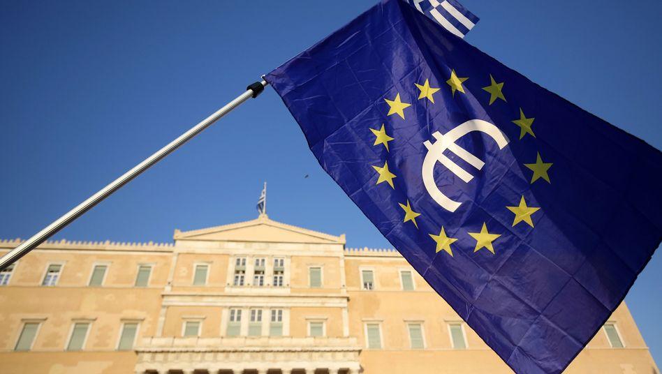 Europäische Flagge in Athen