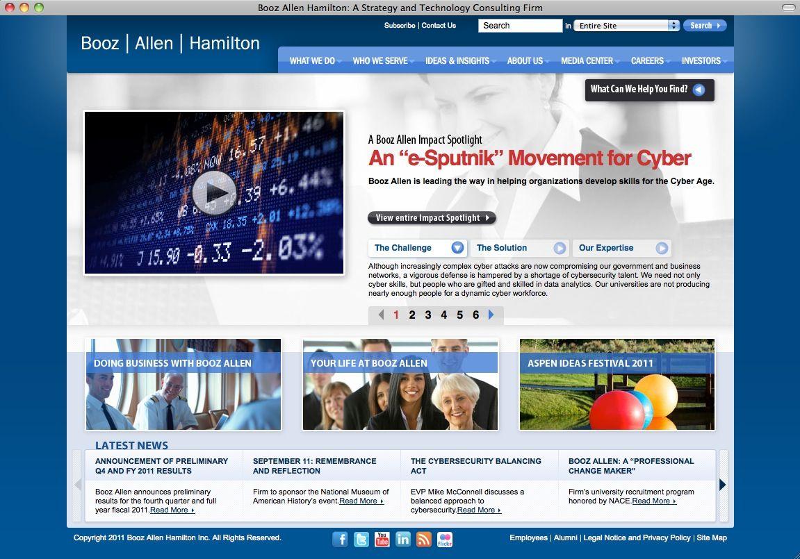 NUR ALS ZITAT SCREENSHOT Booz Allen Hamilton / Consulting