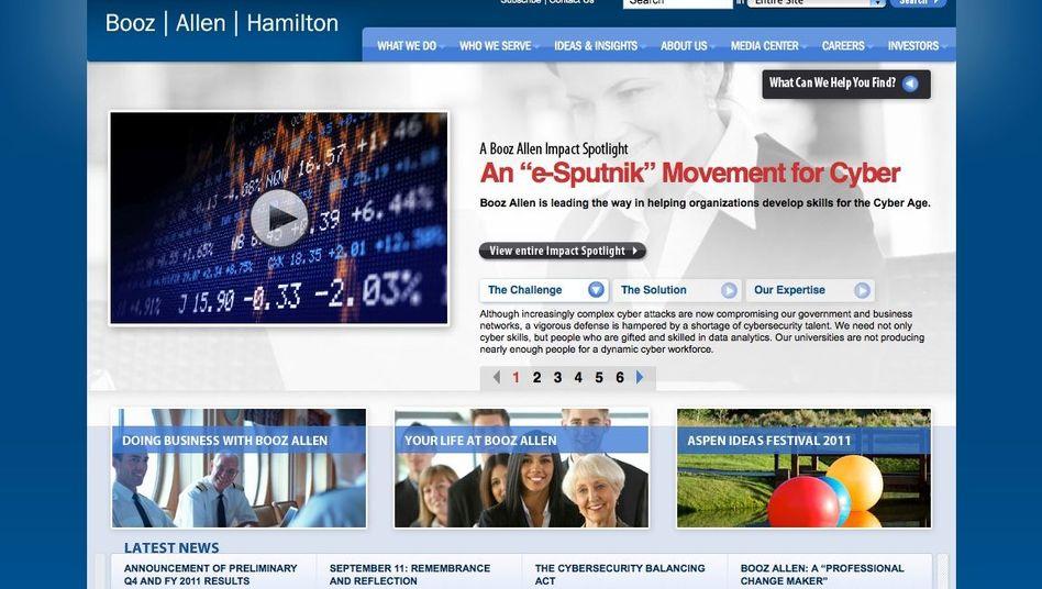 Website von Booz Allen Hamilton: Beratungsdienste für die US-Behörden