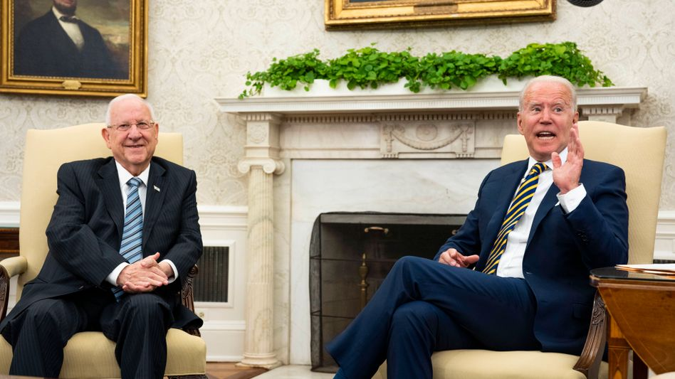 Israels scheidender Präsident Reuven Rivlin, US-Präsident Joe Biden im Weißen Haus in Washington