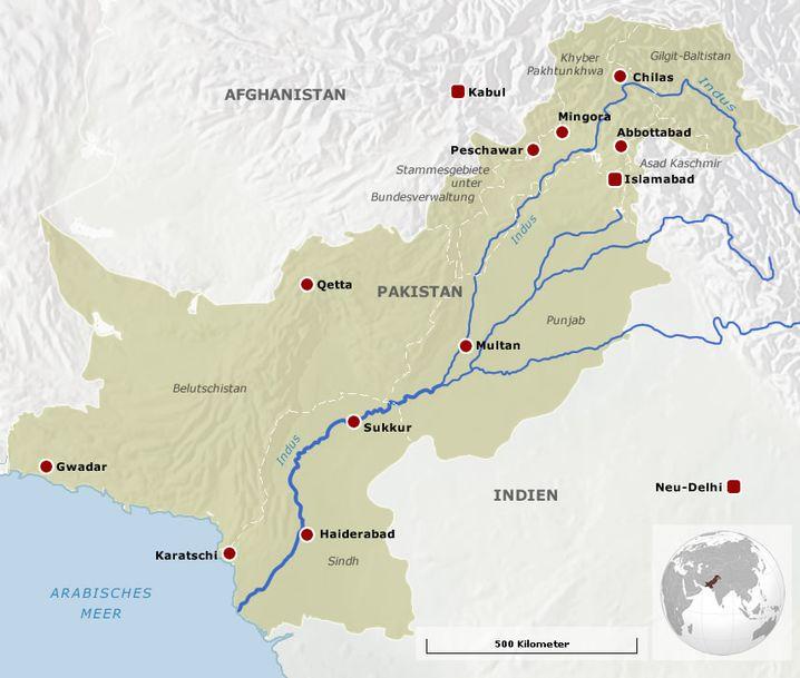 Karte von Pakistan mit Abbottabad im Nordosten