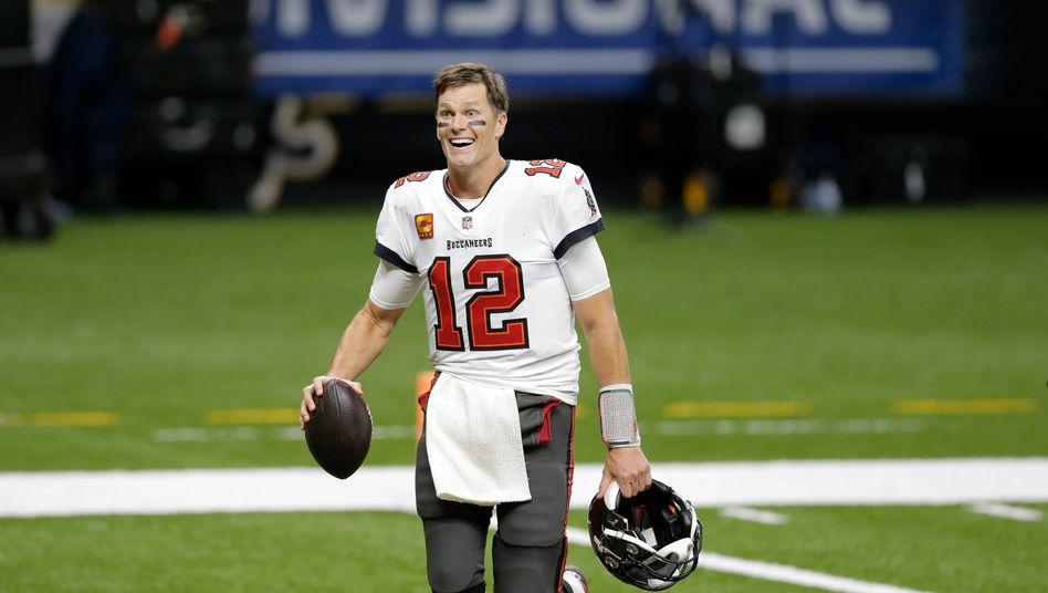 Ein freudiges Gesicht setzte Tom Brady nach dem Sieg gegen die New Orleans Saints auf