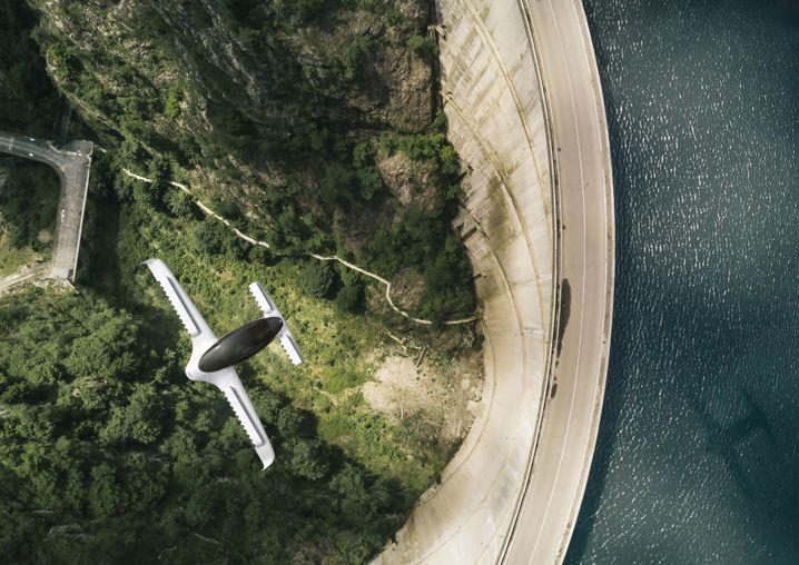 Lilium Jet im Flug - in einer Simulation des Herstellers