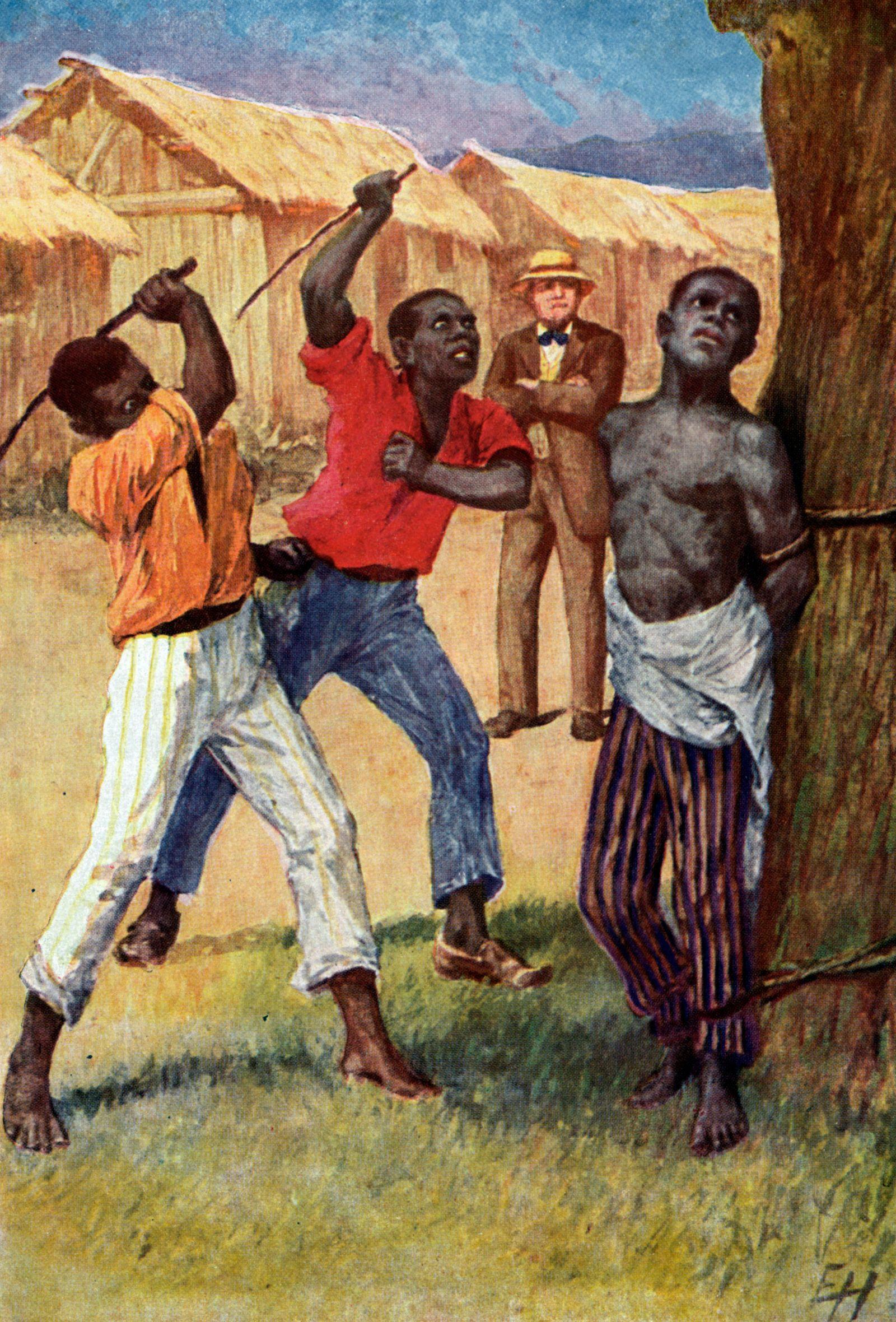 BEECHER-STOWE Oeuvre La Case de l Oncle TOM: 2 esclaves qui bastonnent un troisieme attache a un arbre, le maitre regard